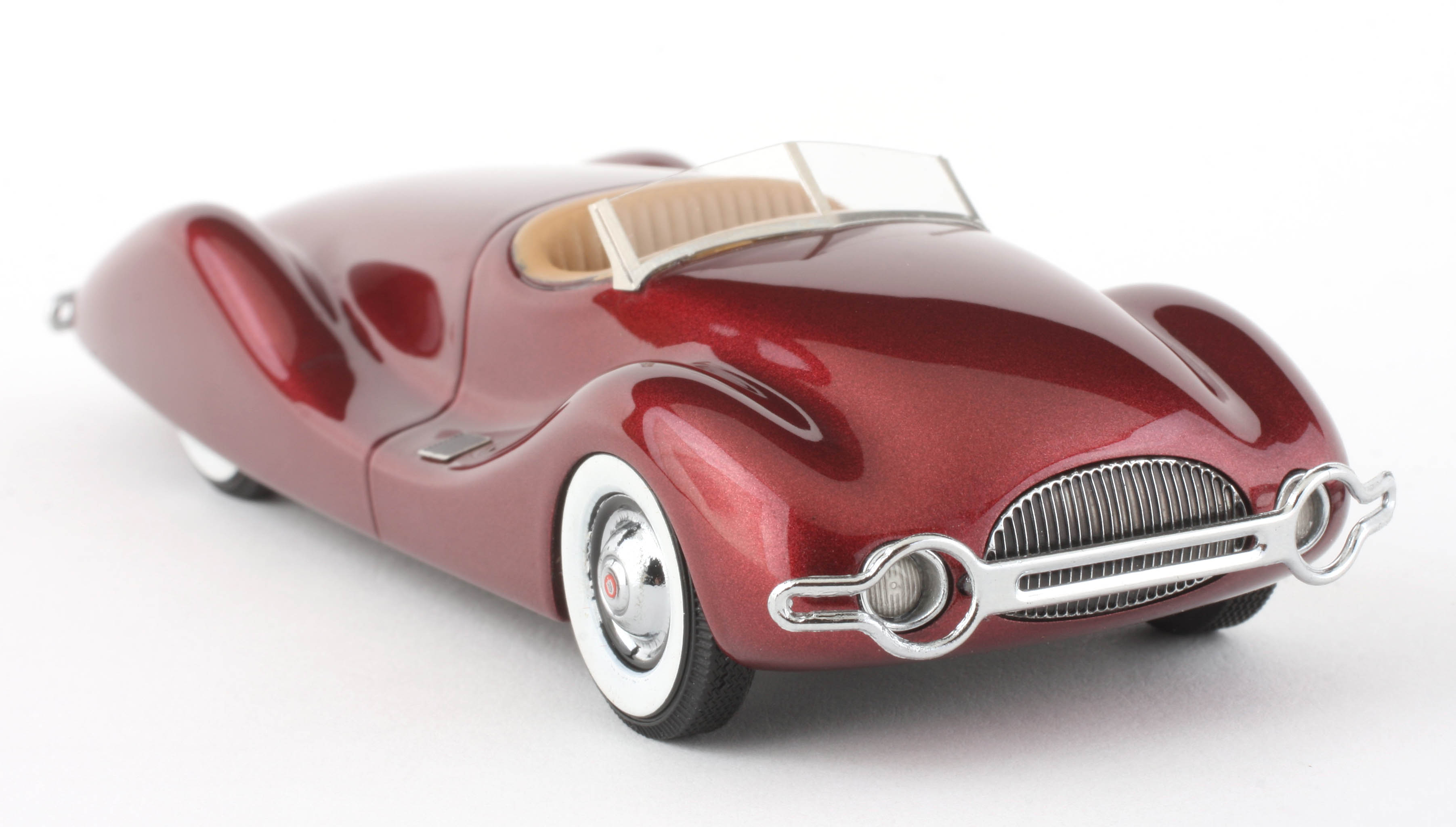 1:43 Automodello – 1948 Norman. E Timbs Buick Streamliner – Maroon Metallic Resin Model Car  Item #AM43-TIM-STR