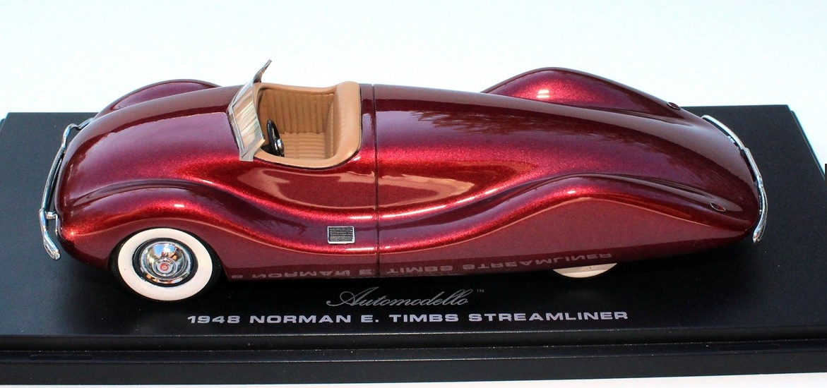 1:43 Automodello - 1948 Norman. E Timbs Buick Streamliner - Maroon Metallic Resin Model Car Item #AM43-TIM-STR
