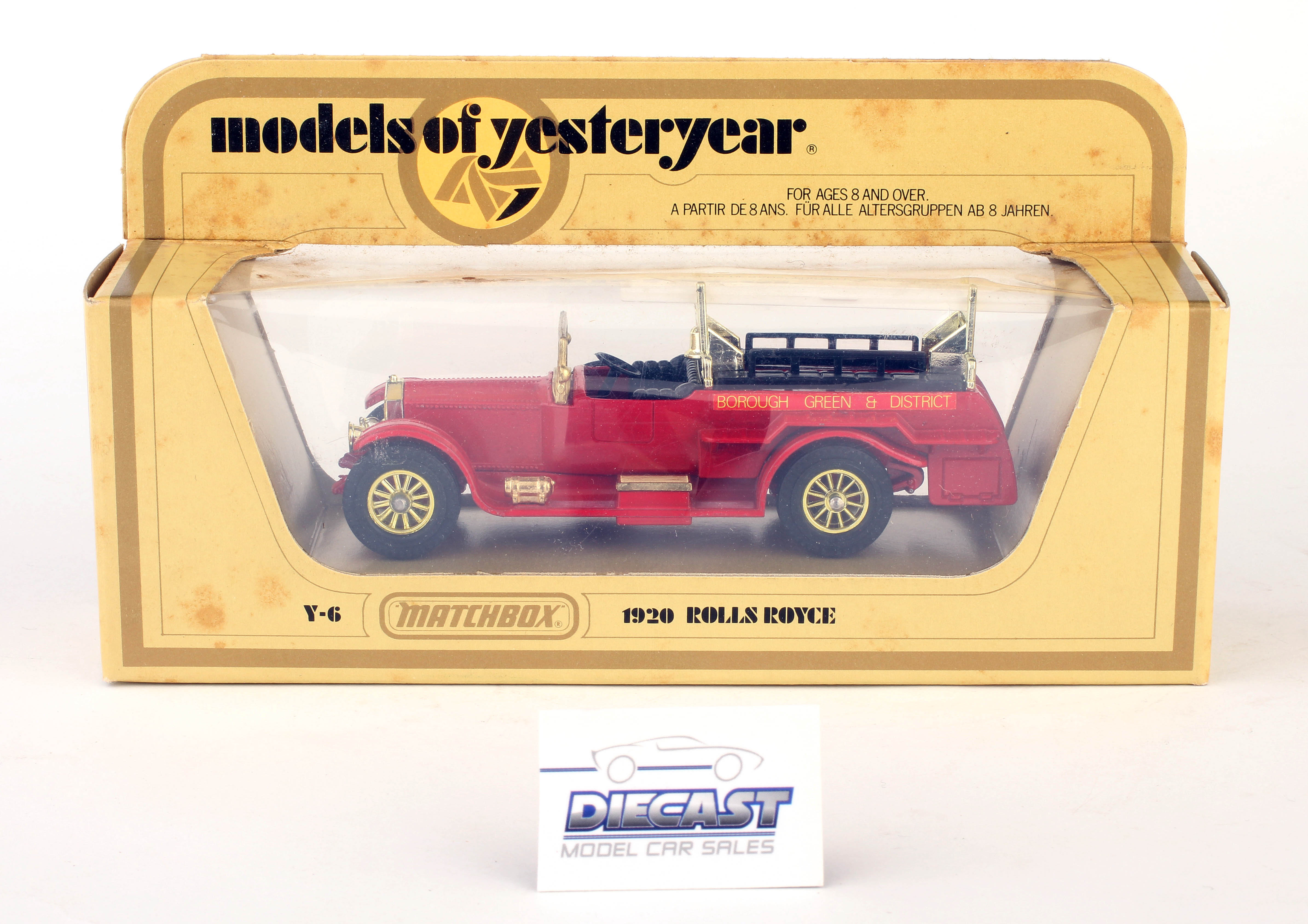 Matchbox 1:48 Models of Yesteryear 1920 Rolls Royce (Red with Gold Trim) (White Ladder) - Y-6